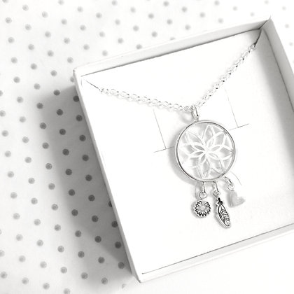 Flower dreamcatcher necklace
