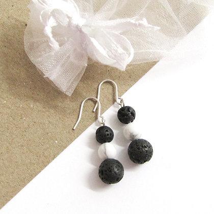 Triple howlite and lava earrings
