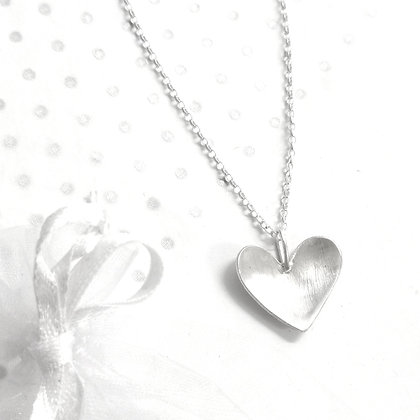 Domed large heart necklace