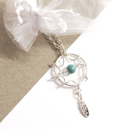 Turquoise wire dreamcatcher necklace