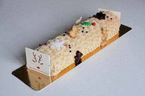Kerststronk, biscuit praliné crème au beurre.