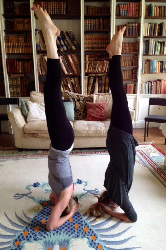 Shirshasana/Headstand with my favourite Yogini.....Zen Training, UK! xxx