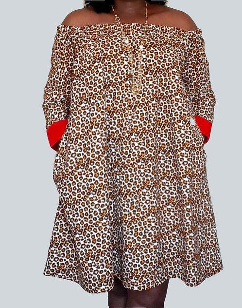 African Print Women Dress, Ankara  Clothing - Off Shoulder Midi Dress