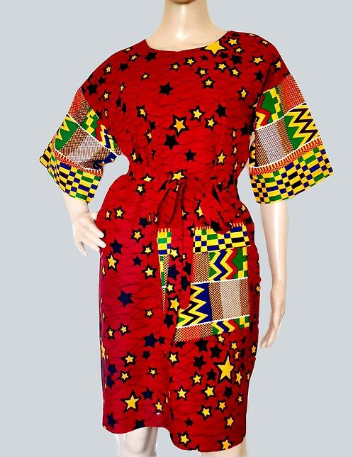 African Print Midi Dress, Ankara Mix Dress
