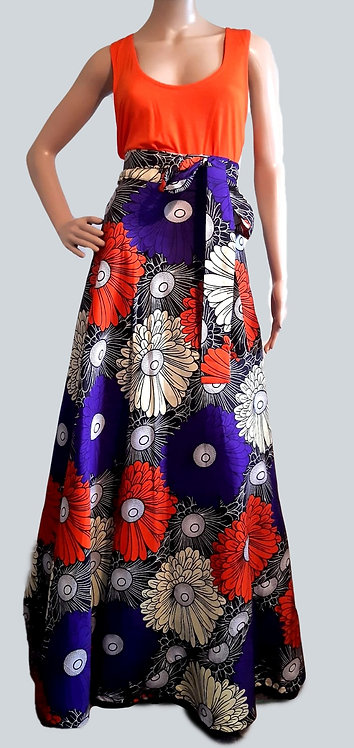African Print Women Maxi Skirt - Ankara Wrap Skirt for Ladies