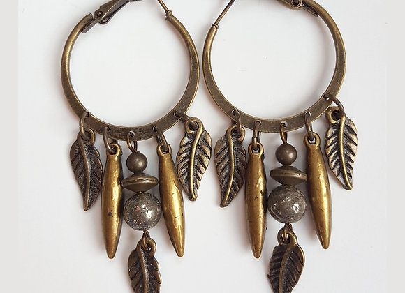 Hoops Feather Earrings
