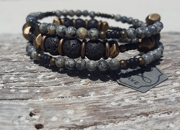Grey + Lava Wrap Bracelet