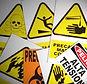 Ejemplo de letreros de advertencia y peligro.