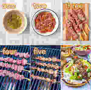 Step by step process of how to make Greek Lamb Souvlaki