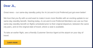 E-mail to Southwest elite flyers announcing a favorable revision to the A-List Same-Day Standby perk.