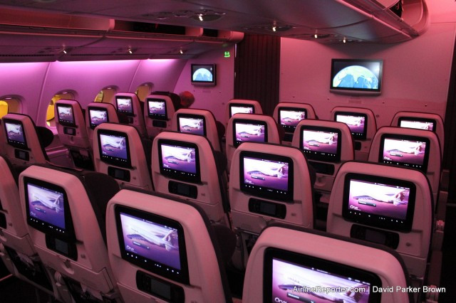 The smaller Economy Class section on the upper deck of Qatar's A380