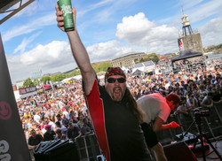 Jay enjoys the atmosphere with cider