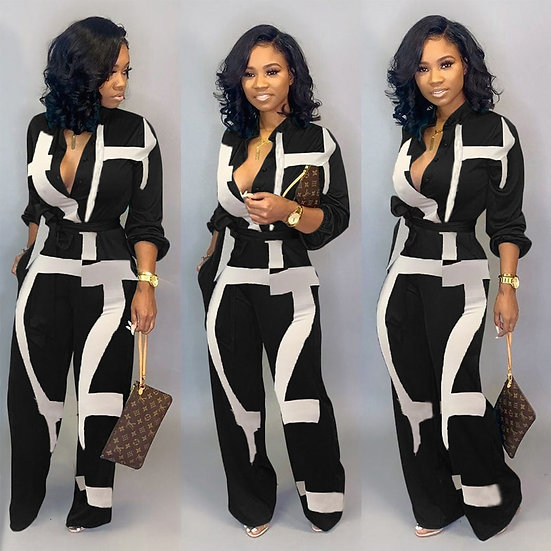 New Fashion Jumpsuit for Women 2019 Dot Black White Rompers Button Up Self