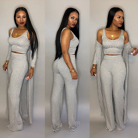 Large Size 3xl 3 Piece Set Women Winter Long Sleeve Three Pieces Sets for Female