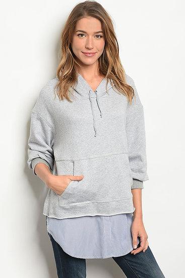 Womens Gray Blue Top