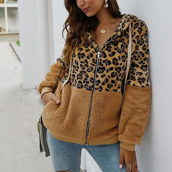 Autumn Winter Sweatshirts Women Hooded Leopard Hoodies Casual Zipper Long Sleeve