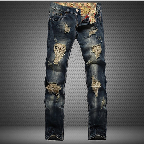 Hole Metrosexual Straight Destroyed Jeans Brand Slim Casual Ripped Jeans Homme