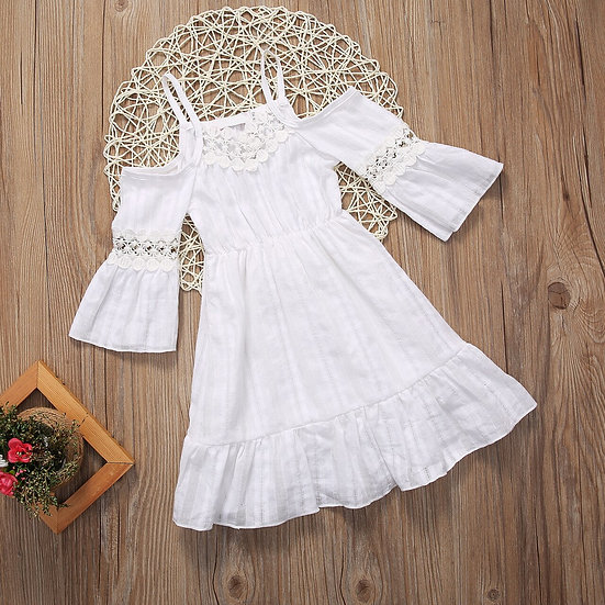 2017 Toddler Kids Baby Girl Summer Dress Off Shoulder White Lace Dress Princess