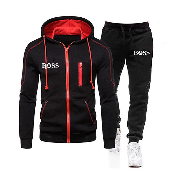 Men Casual Sets 2020 Winter New Brand Splice Jogger Tracksuit Zipper Hoodies