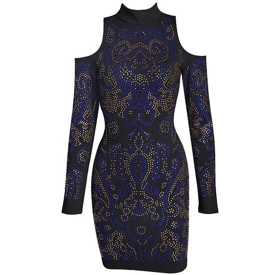 Blue Studded Geometric Dress