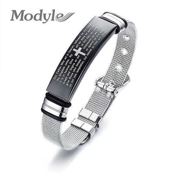Modyle Men Christian Bible Cross Bracelets for Women Bangle Stainless Steel