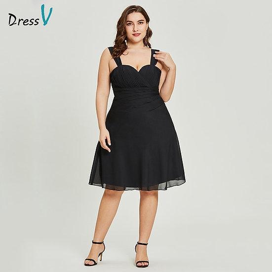 Dressv Black a Line Cocktail Dress Cheap Sweetheart Neck Knee Length Graduation