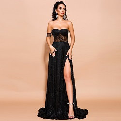 Black High Slit Gown