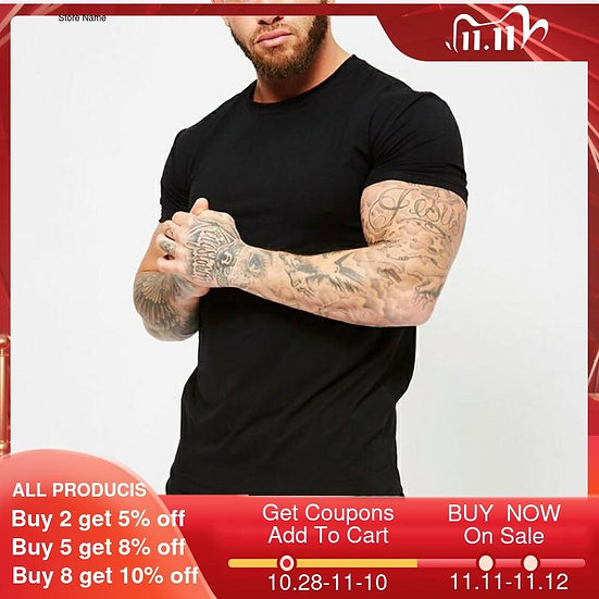Fitness Clothing 2020 Summer Fashion Solid Short Sleeve T Shirt Men Cotton O-