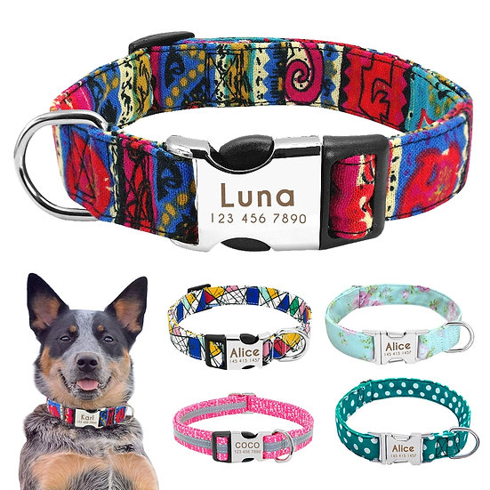 Nylon Dog Collar Personalized Pet Collar Engraved ID Tag Nameplate Reflective