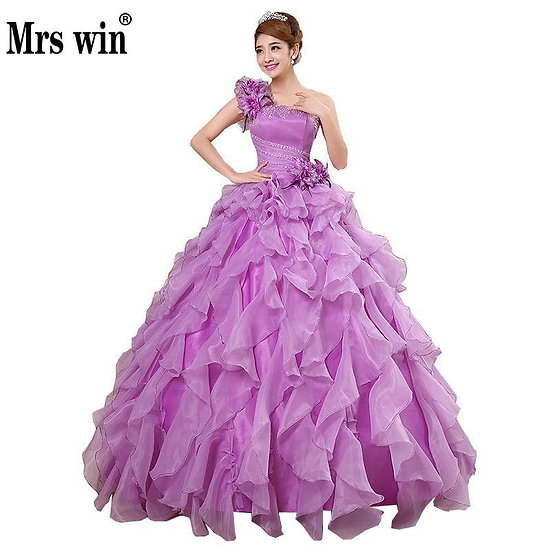Quinceanera Dresses 2020 Mrs Win Sweet Flowers One-Shoulder Crystal Luxury Ball