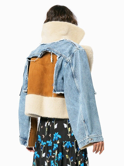 Echoine Winter Fur Patchwork Short Coat Women Elegant Thick Warm Outerwear