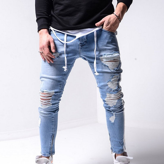 Men Stretchy Ripped Jeans Skinny Biker Zipper Slim Fit Jeans Destroyed Hole