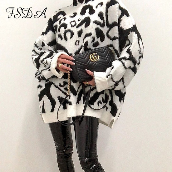 FSDA 2020 Turtleneck Loose Sweater Dress Women Zebra Knitted Long Sleeve Autumn