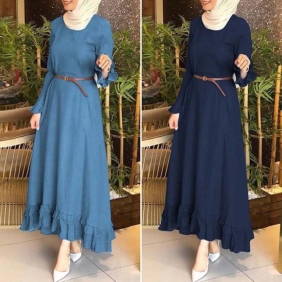 Retro Muslim Dress Women Autumn Denim Blue Ruffles Sundress ZANZEA Stylish Dubai