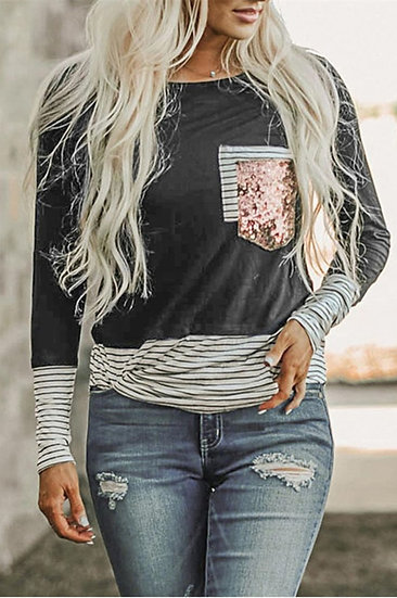 Sequines Pocket T-Shirt Long Sleeve Women Striped Patchwork Tops Tee Shirts