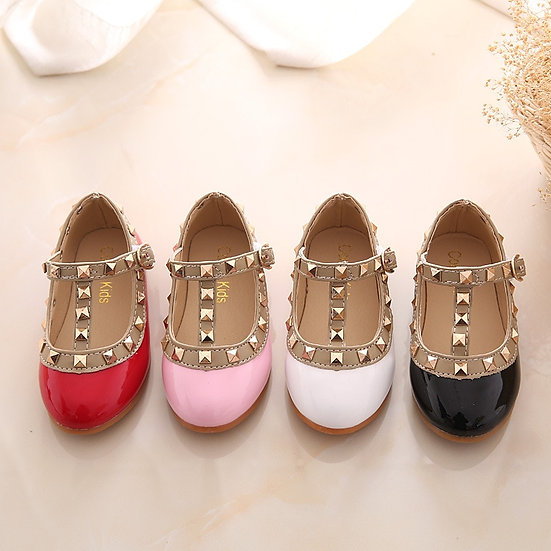 2020 New Spring Summer Autumn Design Kids Leather Shoes Rivets Girls Shoes