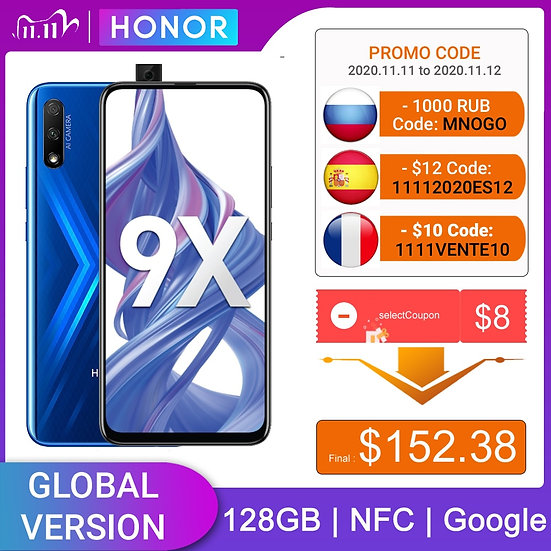 Honor 9X 4GB 128GB Smartphone Global Version 48MP Dual Caemra Mobile Phone 4000m