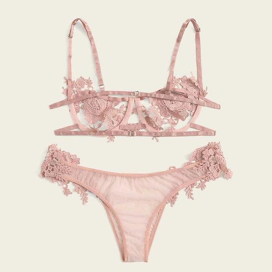 Sexy Lingerie Lace Temptation Rose Underwear Women Sexy Bra Thong Lingerie Set