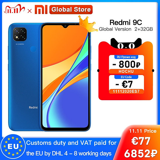 Global Version Xiaomi Redmi 9C Mobile Phone 9 C  2GB 32GB MediaTek Helio G35