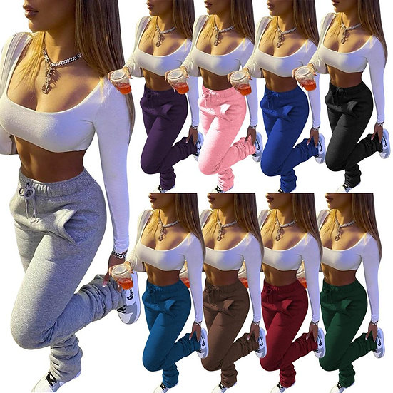 Winter Women Stacked Joggers Pants Solid Color Drawstring Thicken With Pocket