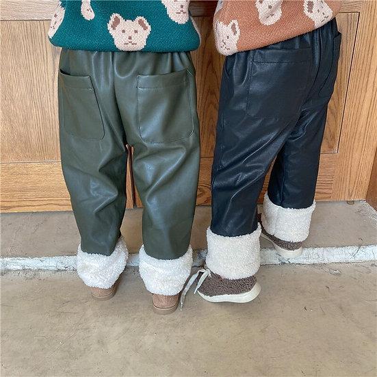 2020 Autumn Winter New Arrival Girls Fashion PU Pants Kids Thick Warm Fleece