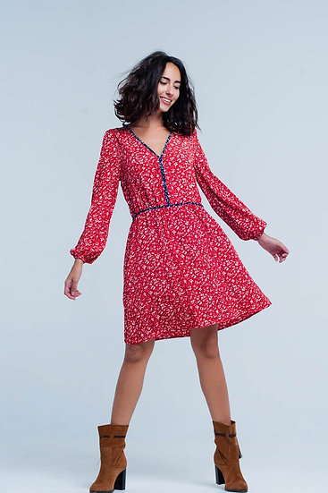 Red Floral Midi Dress With Navy Seams