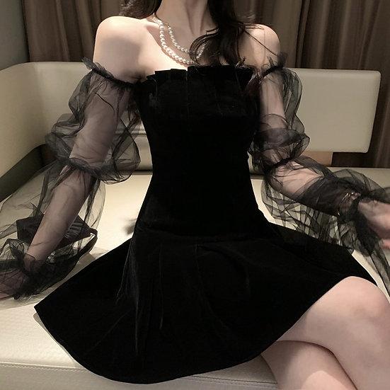 Gothic Sexy Dress Vintage Off Shoulder Lanter Sleeve Mesh Patchwork Velvet Mini