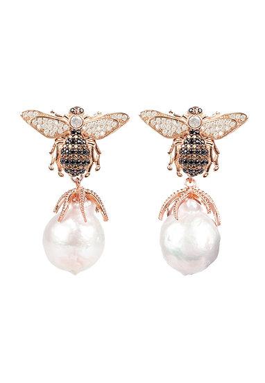 Baroque Pearl Honey Bee Drop Earring Rosegold