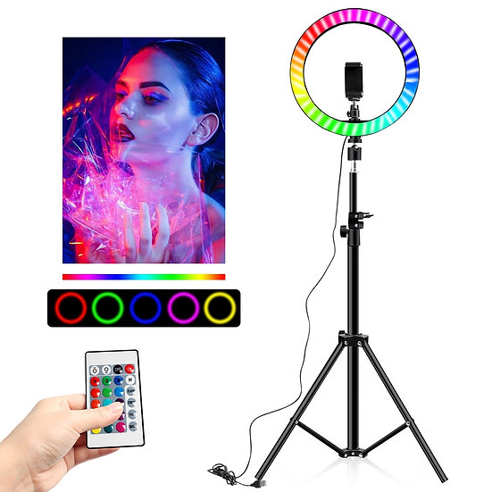 10 Inch Rgb Video Light 16Colors Rgb Ring Lamp for Phone With Remote