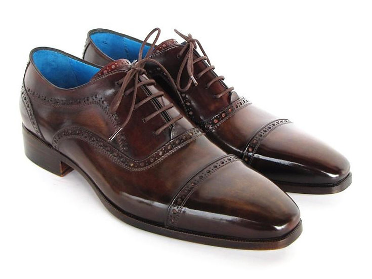 Paul Parkman Men's Captoe Oxfords Anthracite Brown Hand-Painted Leather