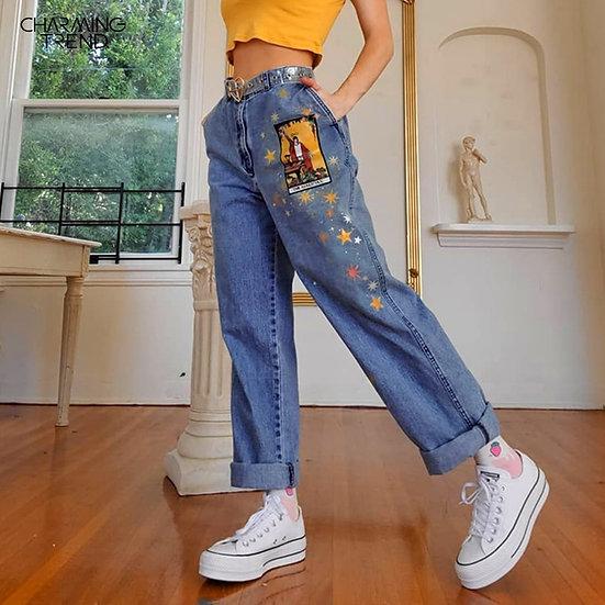 Womens Jeans Star Cartoons Pattern Printed 2020 Autumn Winter Denim Trousers