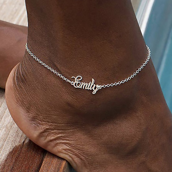 Custom Name Anklet Foot Stainless Steel Chain Personalize Anklets for Women