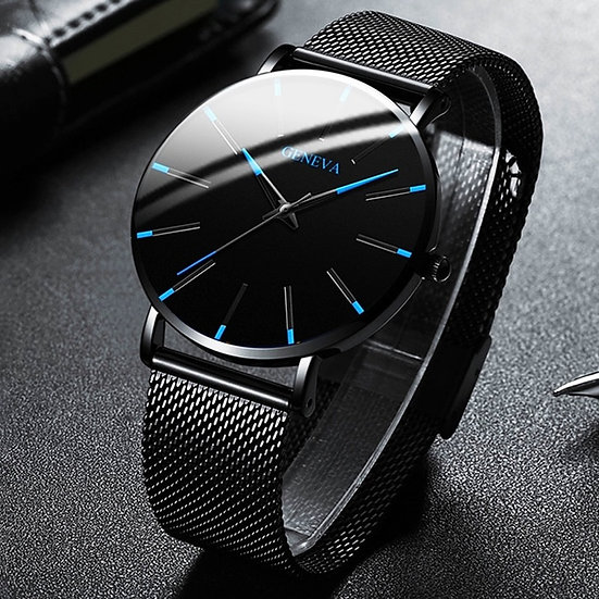 Minimalist Men Fashion Ultra Thin Watches Simple Men Business Stainless Steel
