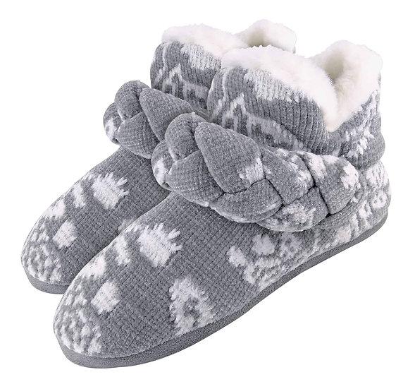Ladies Knitted Warm Fleece Slipper Booties